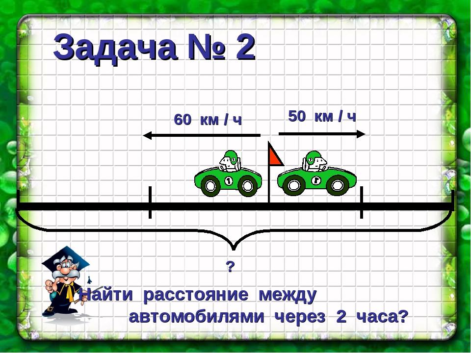 Задача № 2 Найти расстояние между автомобилями через 2 часа?