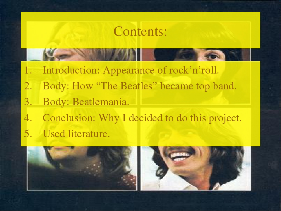 "Contents: Introduction: Appearance of rock'n'roll. Body: How ""The Beatles"" be..."