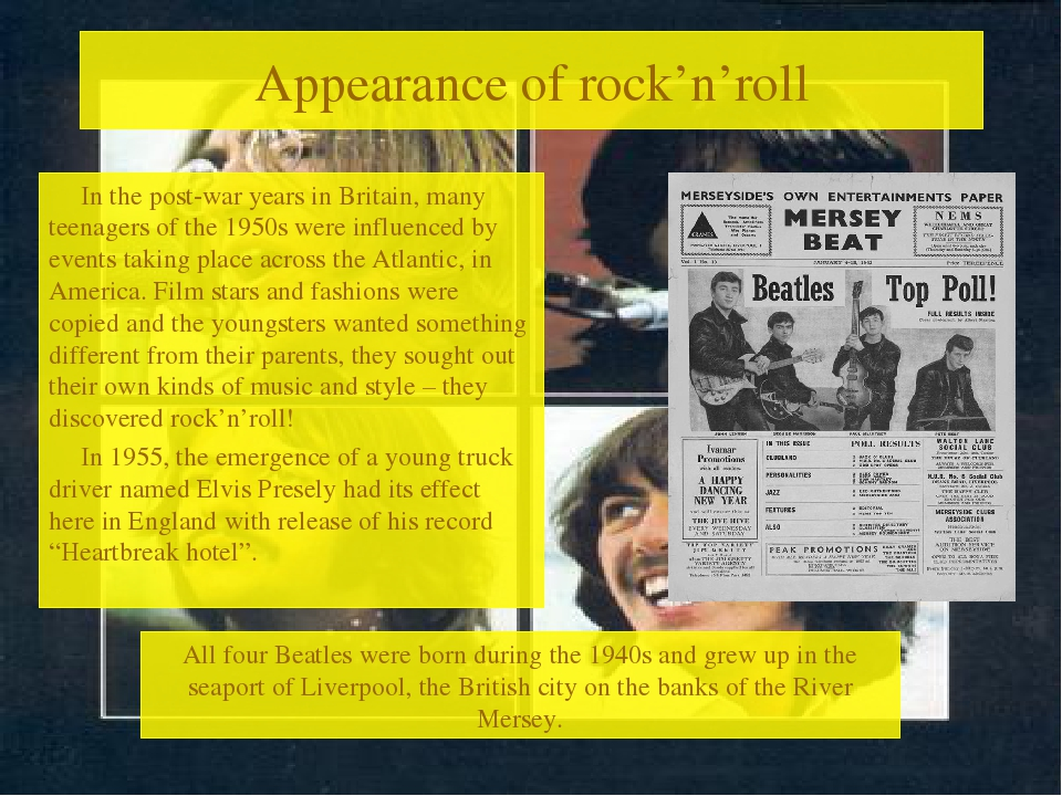 Appearance of rock'n'roll In the post-war years in Britain, many teenagers of...