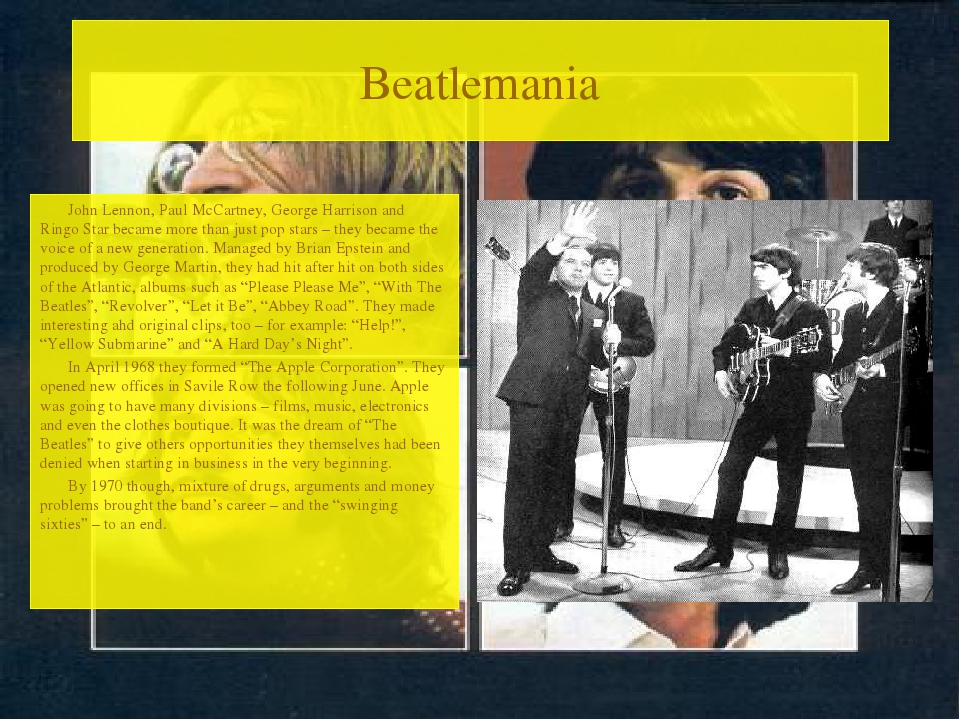 Beatlemania John Lennon, Paul McCartney, George Harrison and Ringo Star becam...