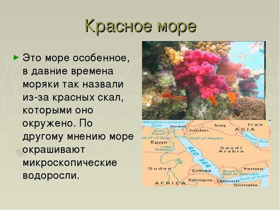 Красное море Это море особенное, в давние времена моряки так назвали из-за кр...