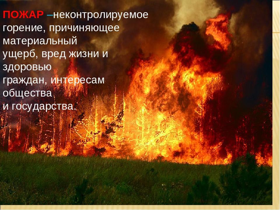 ПОЖАР –неконтролируемое горение, причиняющее материальный ущерб, вред жизни и...