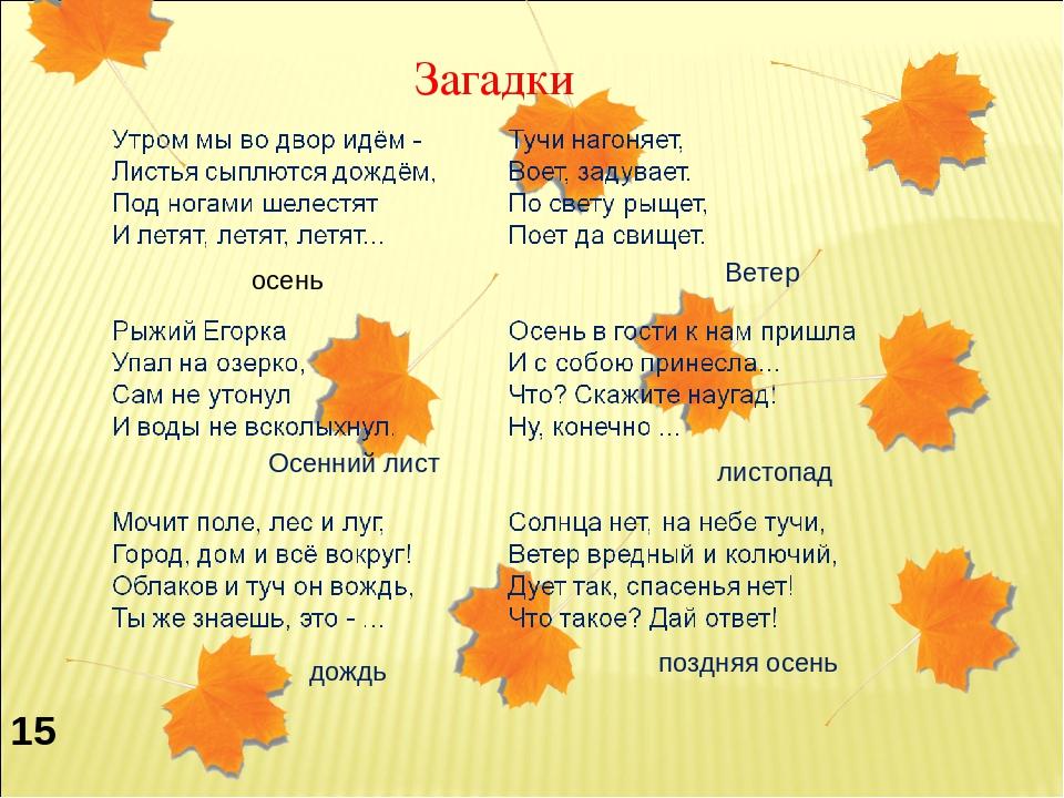 Загадки осень с картинками