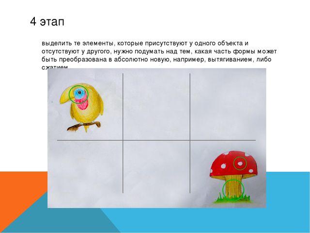 4 этап выделить те элементы, которые присутствуют у одного объекта и отсутст...