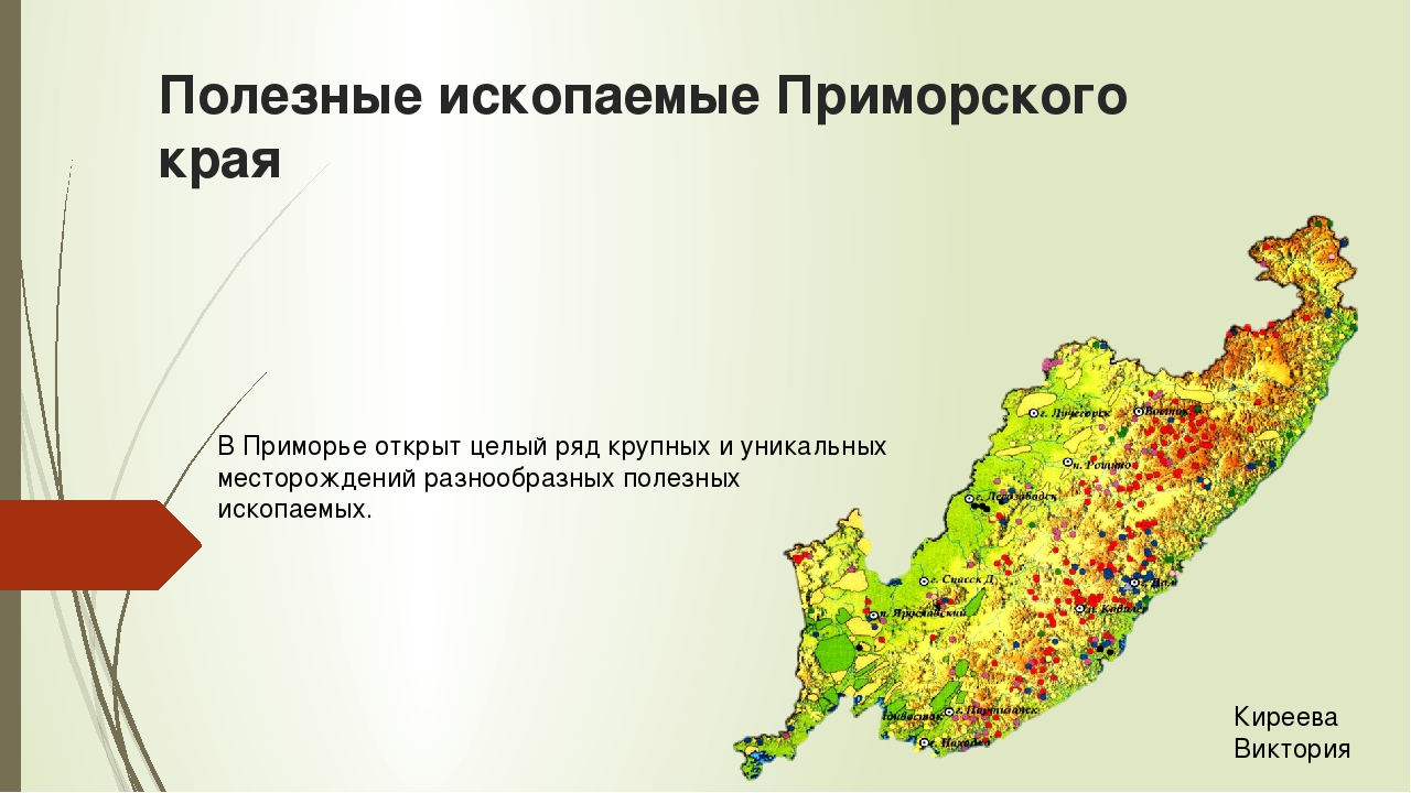 Полезные ископаемые Приморского края В Приморье открыт целый ряд крупных и ун...