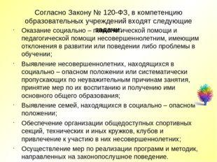 Согласно Закону № 120-ФЗ, в компетенцию образовательных учреждений входят сле