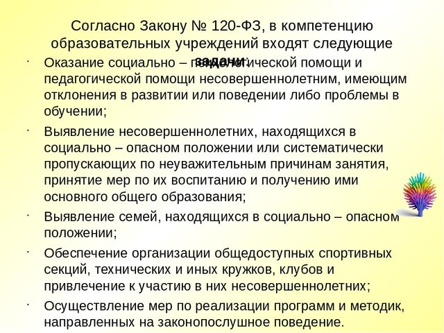 Согласно Закону № 120-ФЗ, в компетенцию образовательных учреждений входят сле...