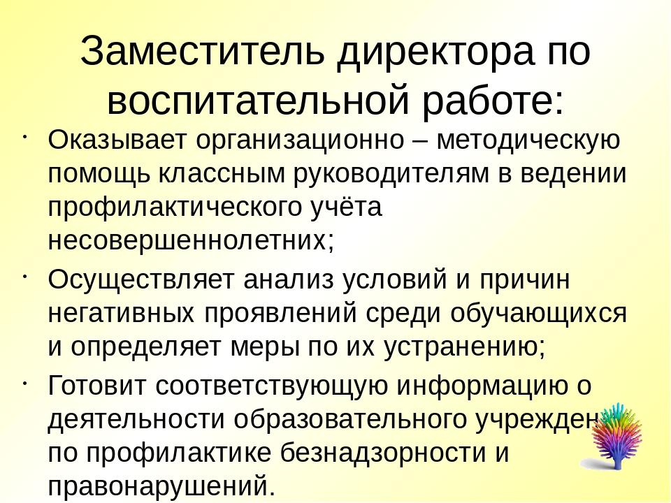 Заместитель директора по воспитательной работе: Оказывает организационно – м...