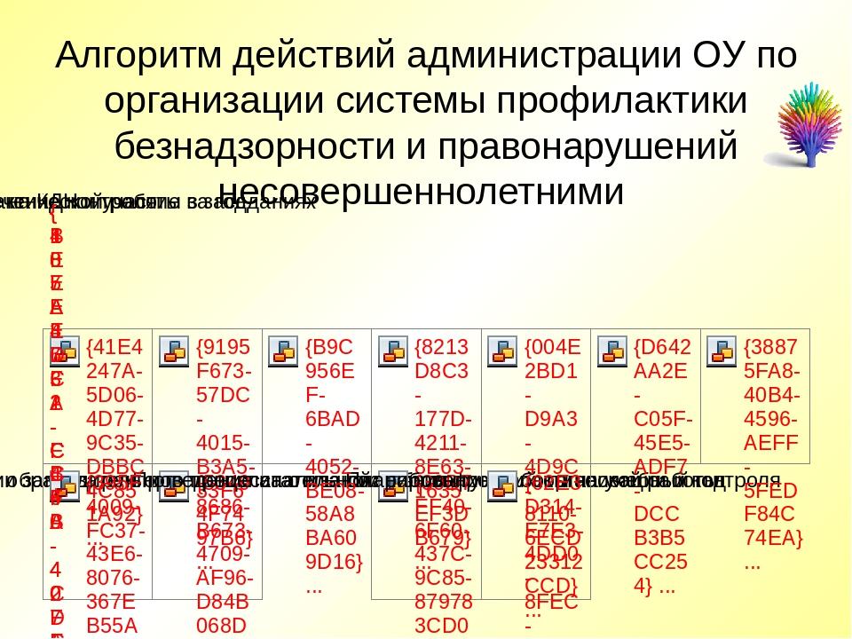 Алгоритм действий администрации ОУ по организации системы профилактики безнад...
