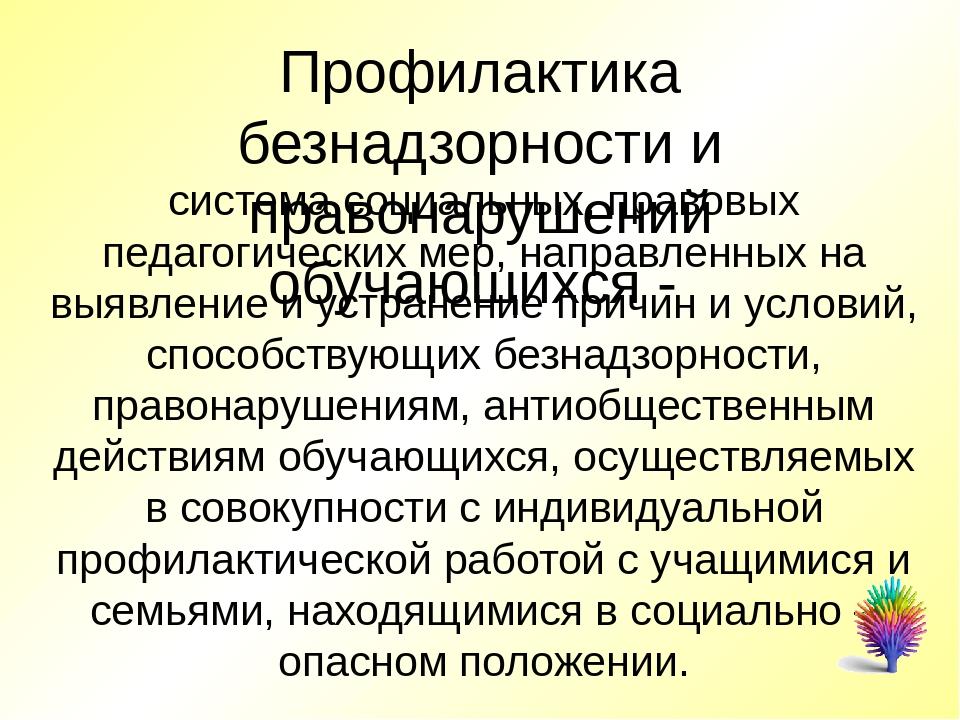 Профилактика безнадзорности и правонарушений обучающихся -  система социальн...