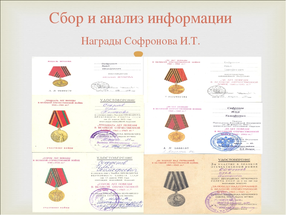 Сбор и анализ информации Награды Софронова И.Т.