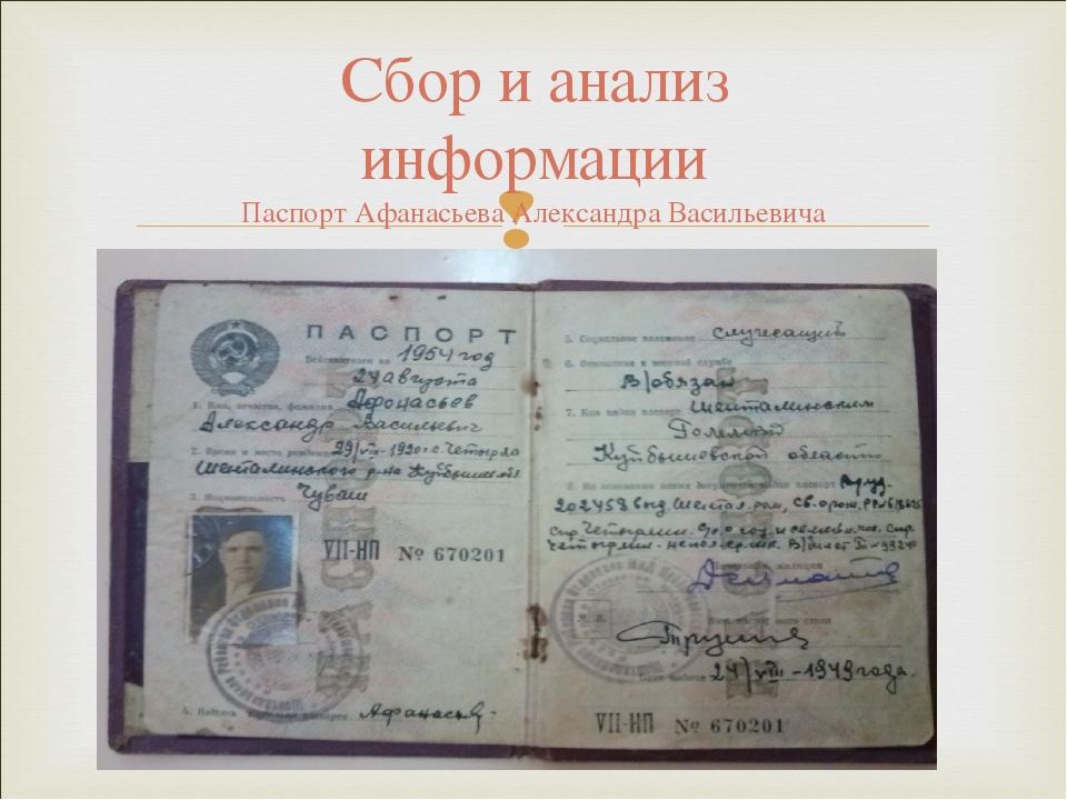 Сбор и анализ информации Паспорт Афанасьева Александра Васильевича