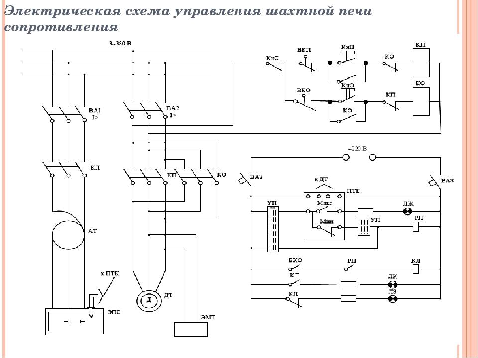 Электрическая схема управления электропечью