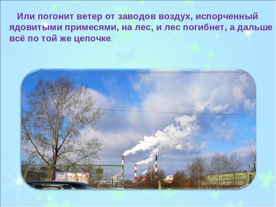 Или погонит ветер от заводов воздух, испорченный ядовитыми примесями, на лес...