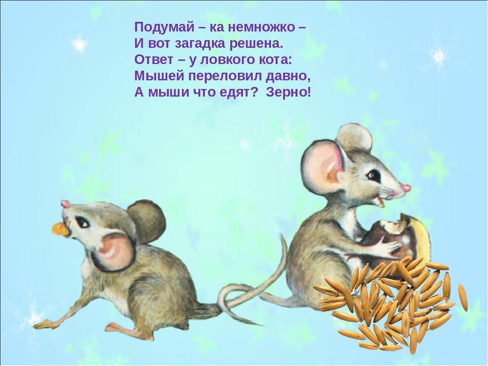 Подумай – ка немножко – И вот загадка решена. Ответ – у ловкого кота: Мышей п...