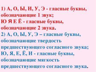 1) А, О, Ы, И, У, Э - гласные буквы, обозначающие 1 звук; Ю Я Е Ё - гласные б