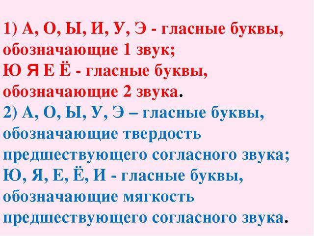1) А, О, Ы, И, У, Э - гласные буквы, обозначающие 1 звук; Ю Я Е Ё - гласные б...