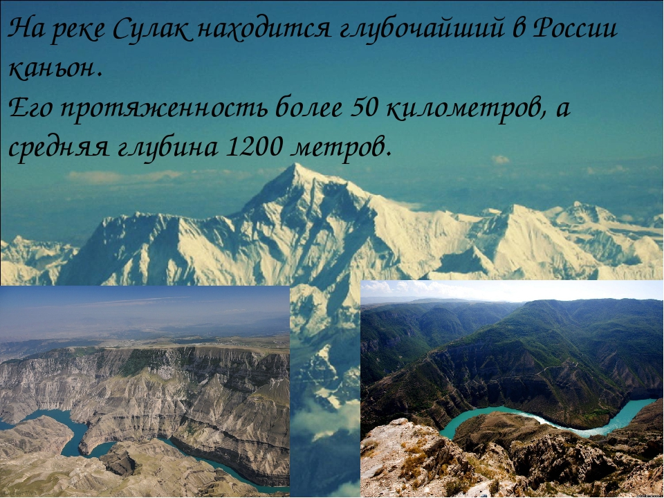 На реке Сулак находится глубочайший в России каньон. Его протяженность более...
