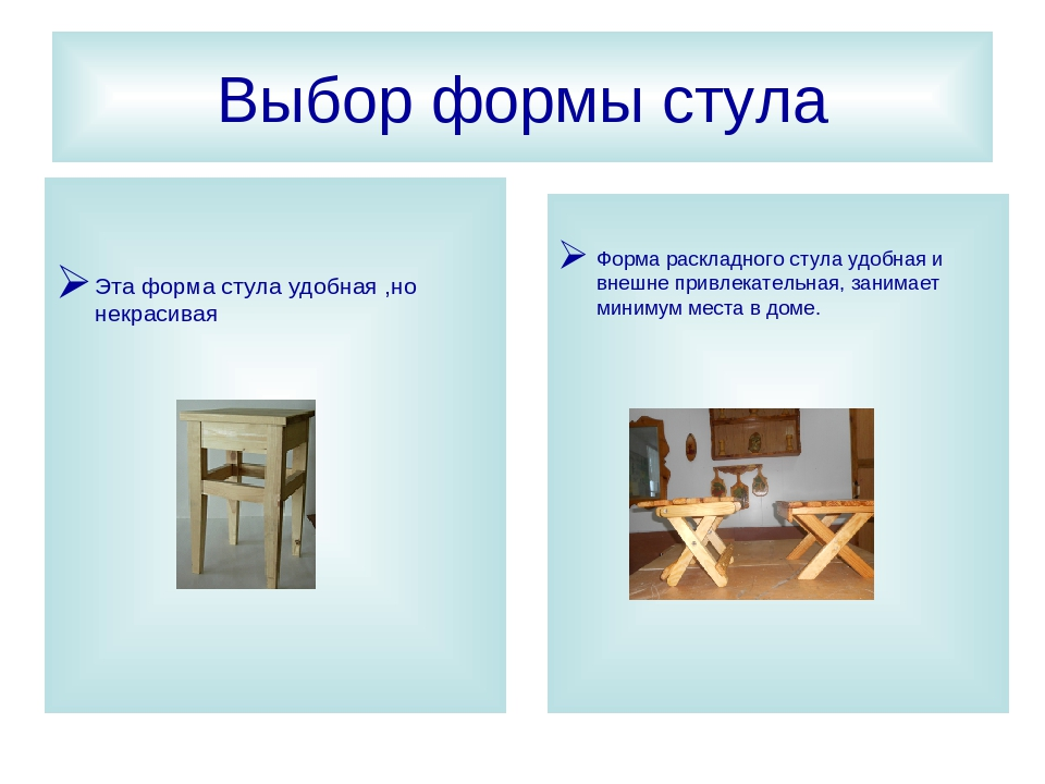 Проект по технологии на тему Изготовление стула трансформера  слайда 8 Выбор формы стула Эта форма стула удобная но некрасивая Форма раскладного ст