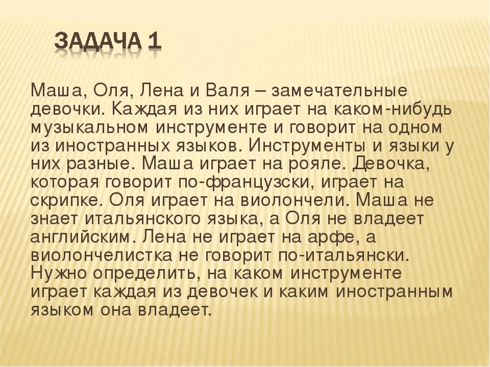 Маша, Оля, Лена и Валя – замечательные девочки. Каждая из них играет на каком...