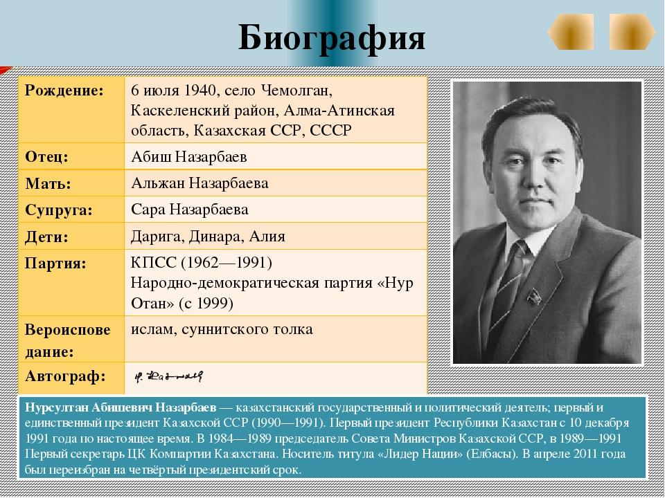 Биография Нурсултан Абишевич Назарбаев — казахстанский государственный и пол...
