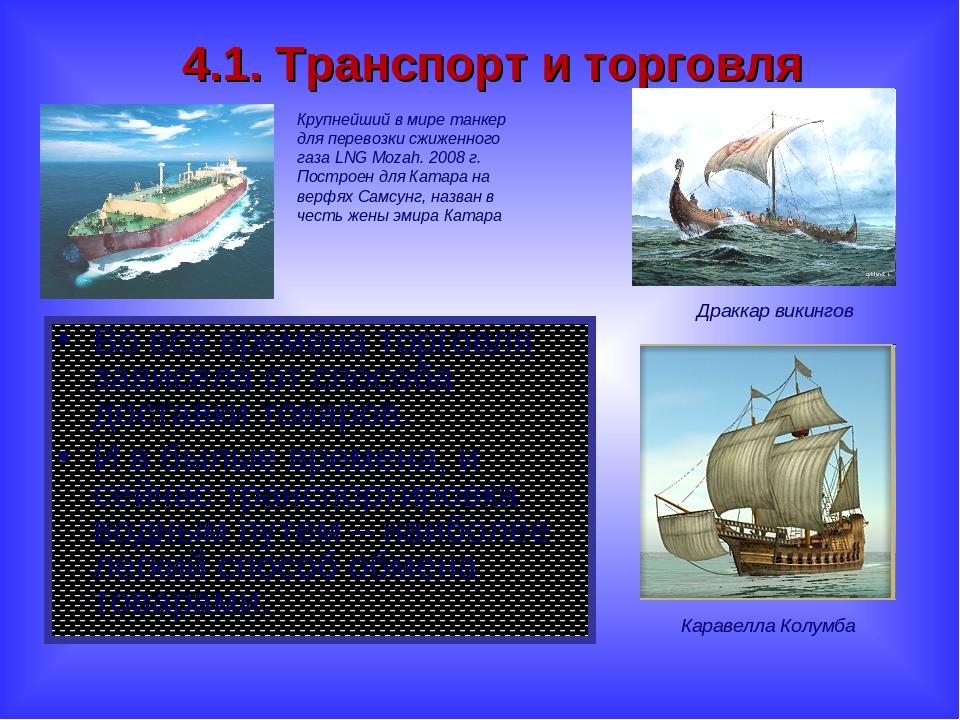4.1. Транспорт и торговля Во все времена торговля зависела от способа доставк...