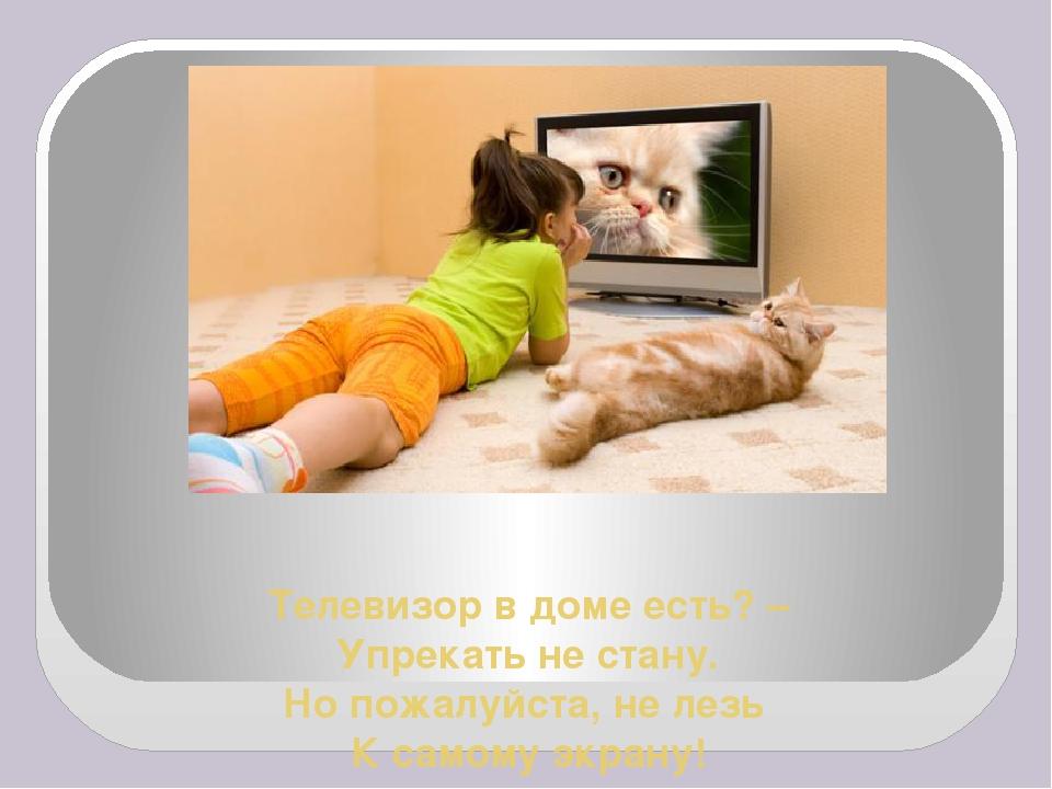 Телевизор в доме есть? – Упрекать не стану. Но пожалуйста, не лезь К самому э...