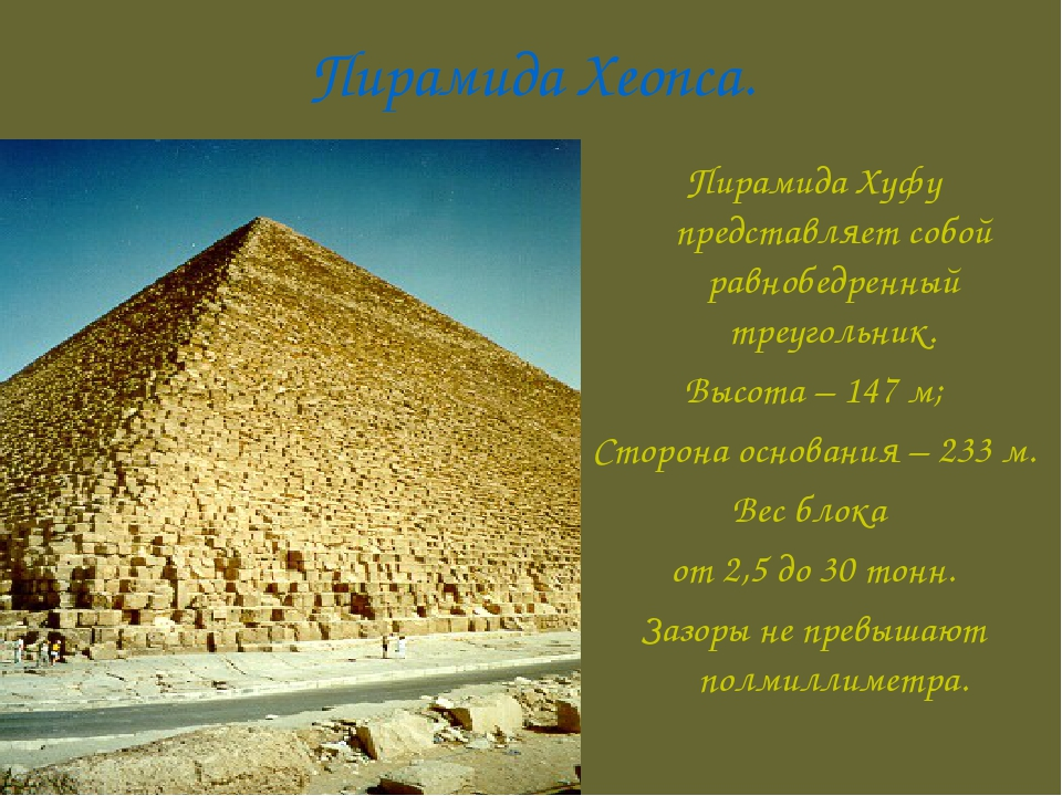 Пирамида Хеопса. Пирамида Хуфу представляет собой равнобедренный треугольник....