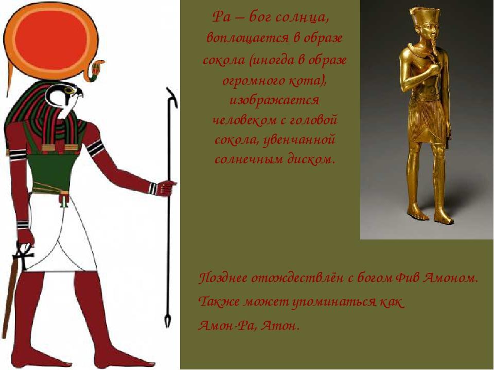 Ра – бог солнца, воплощается в образе сокола (иногда в образе огромного кота...
