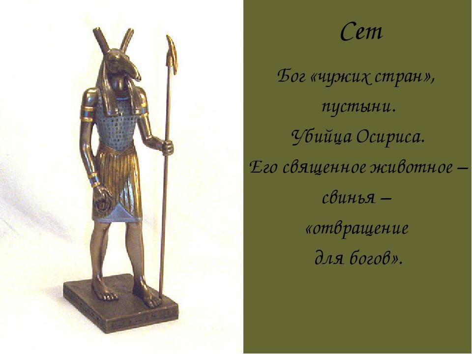 Сет Бог «чужих стран», пустыни. Убийца Осириса. Его священное животное – свин...
