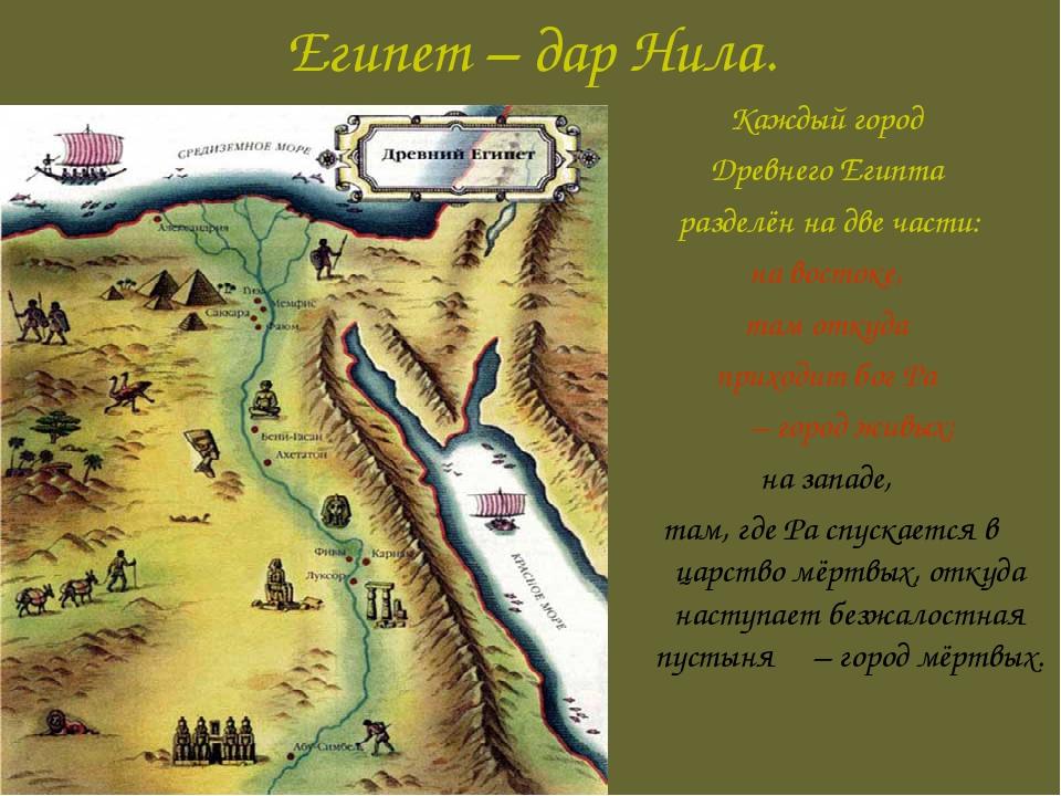 Египет – дар Нила. Каждый город Древнего Египта разделён на две части: на вос...