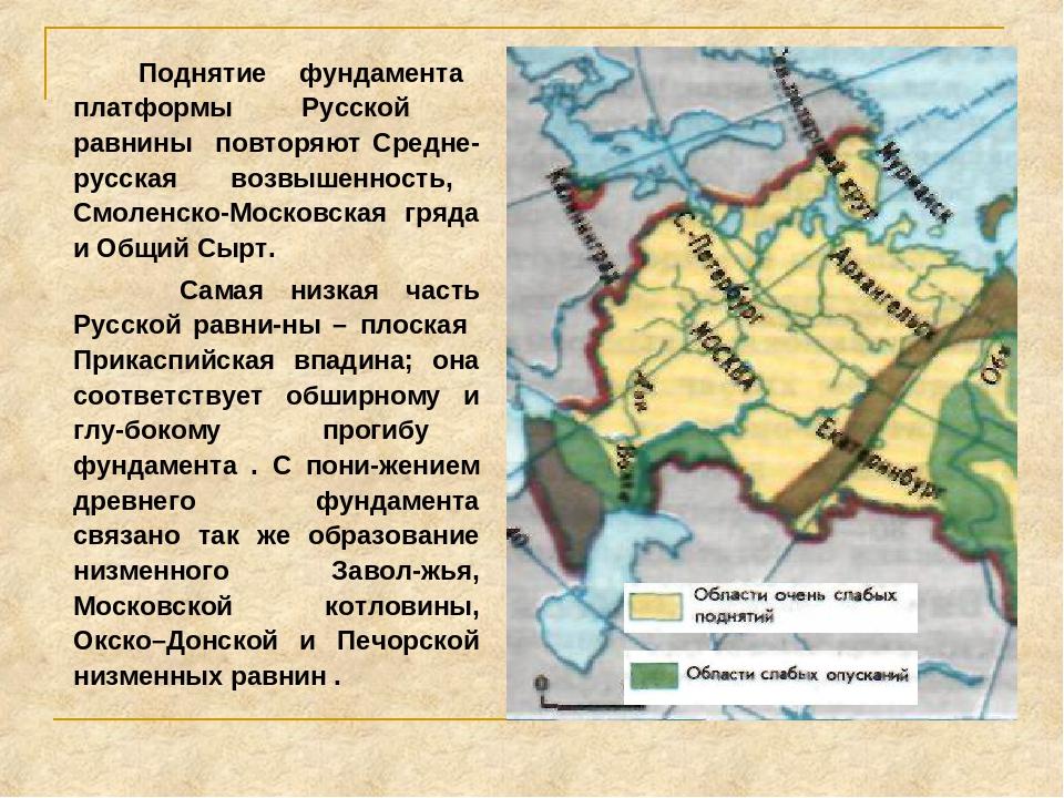 Поднятие фундамента платформы Русской равнины повторяют Средне-русская возвы...