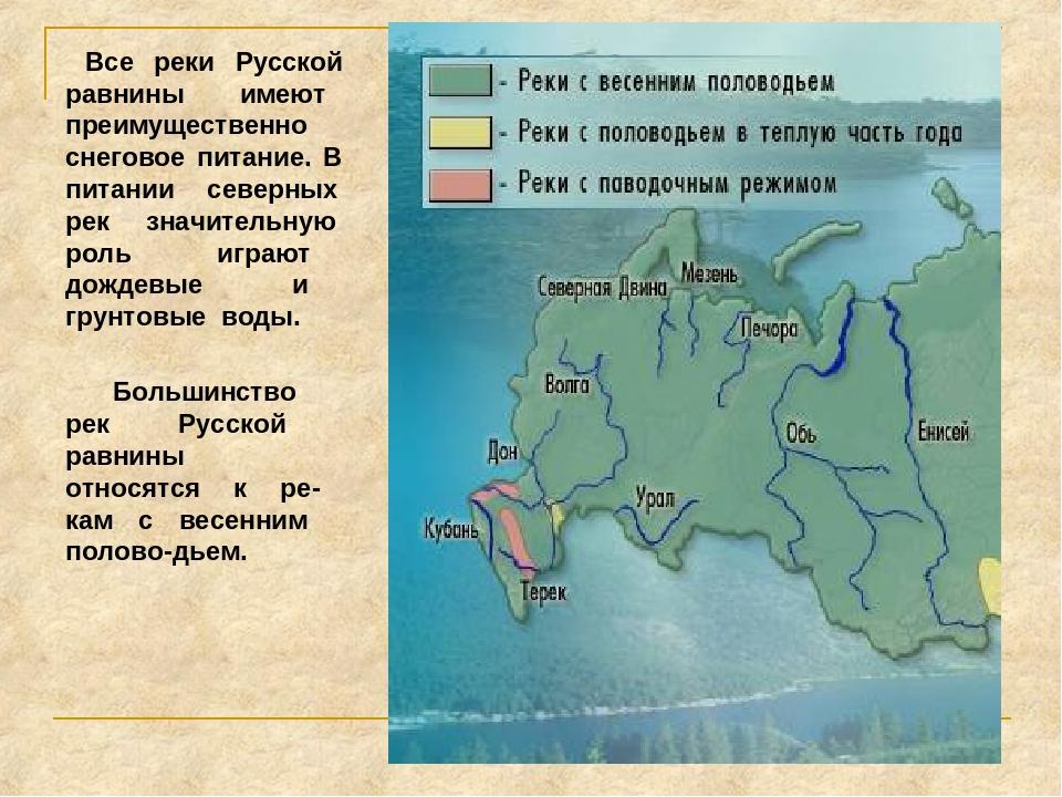 Все реки Русской равнины имеют преимущественно снеговое питание. В питании с...