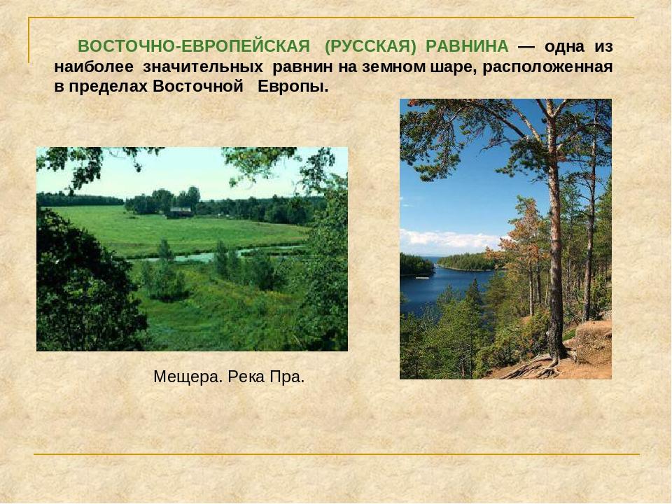 ВОСТОЧНО-ЕВРОПЕЙСКАЯ (РУССКАЯ) РАВНИНА — одна из наиболее значительных равни...
