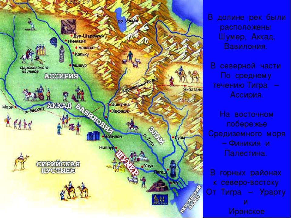 В долине рек были расположены Шумер, Аккад, Вавилония. В северной части По с...