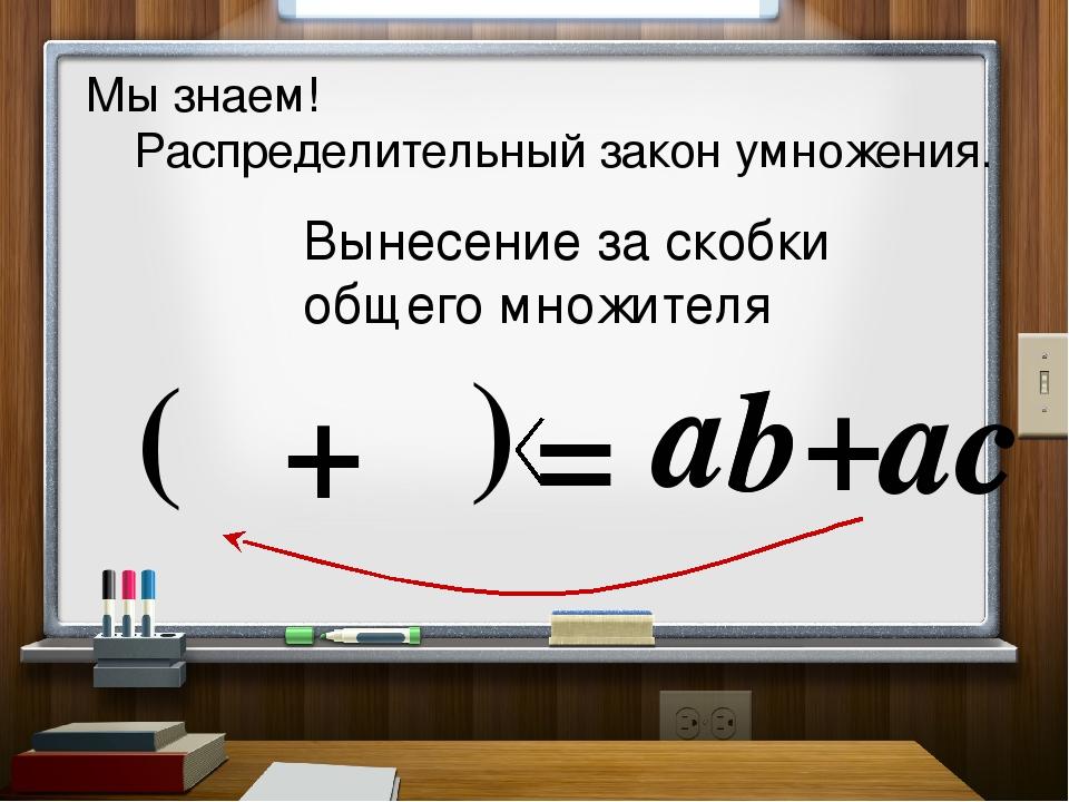 b a a Мы знаем! Распределительный закон умножения. = +ac Вынесение за скобки...