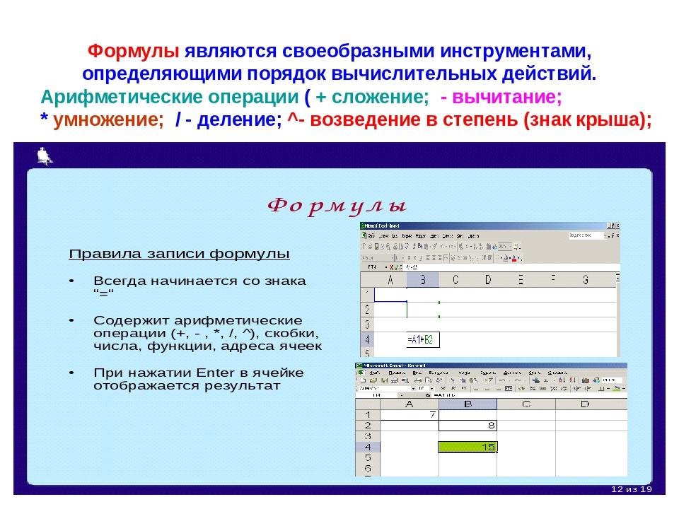 Формулы являются своеобразными инструментами, определяющими порядок вычислит...