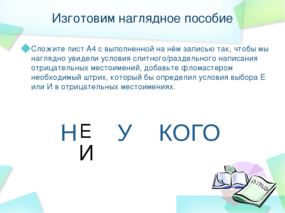 Изготовим наглядное пособие Сложите лист А4 с выполненной на нём записью так,...