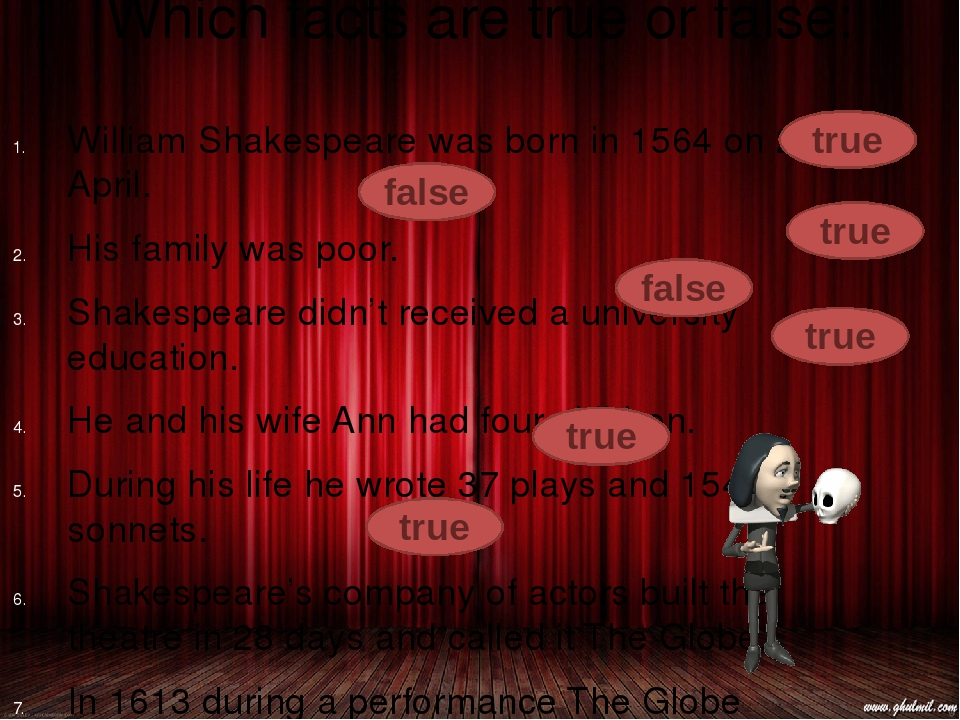 Which facts are true or false: William Shakespeare was born in 1564 on 23 Apr...