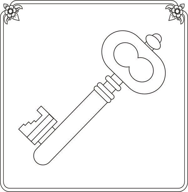 Раскраска золотого ключика для детей