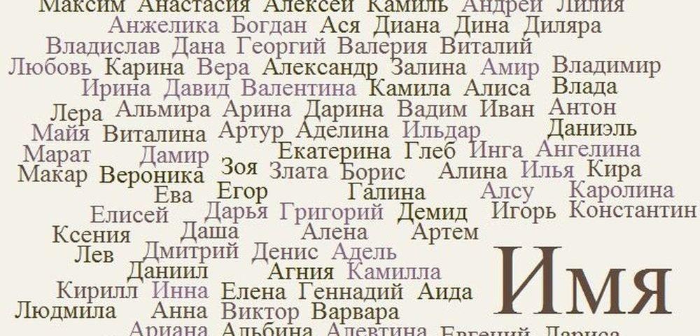 того, какие есть имена в русском материал