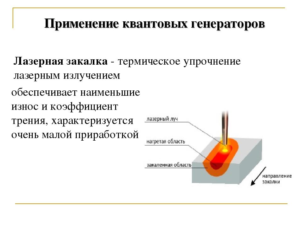 Применение квантовых генераторов Лазерная закалка - термическое упрочнение л...