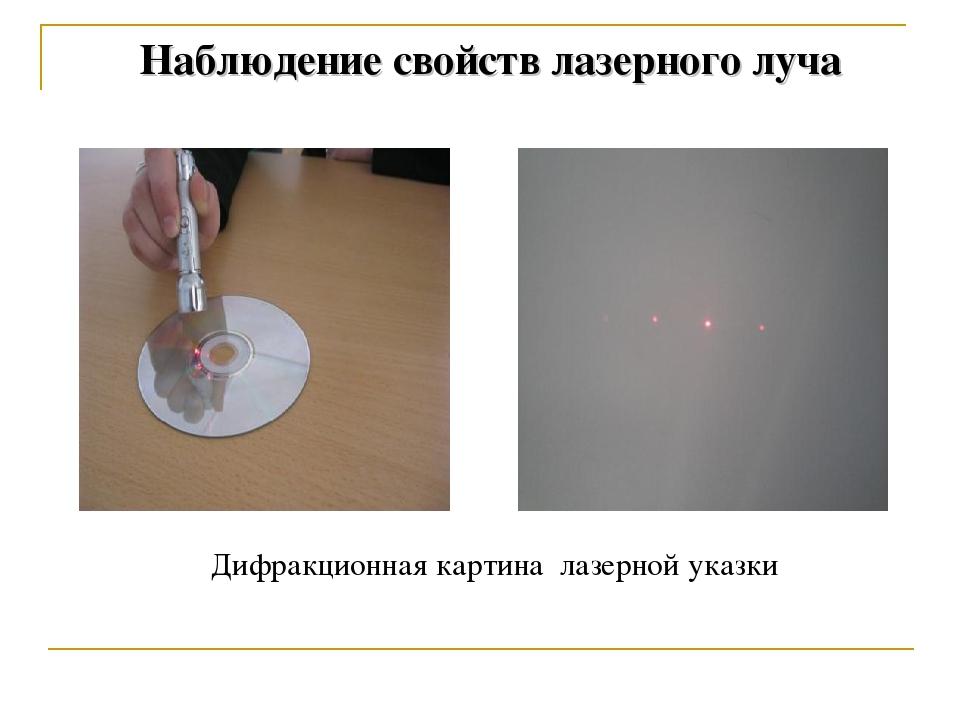 Наблюдение свойств лазерного луча Дифракционная картина лазерной указки