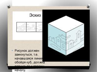 Рисунок должен замкнуться, т.е. начавшаяся линия, обойдя куб, должна вернутьс