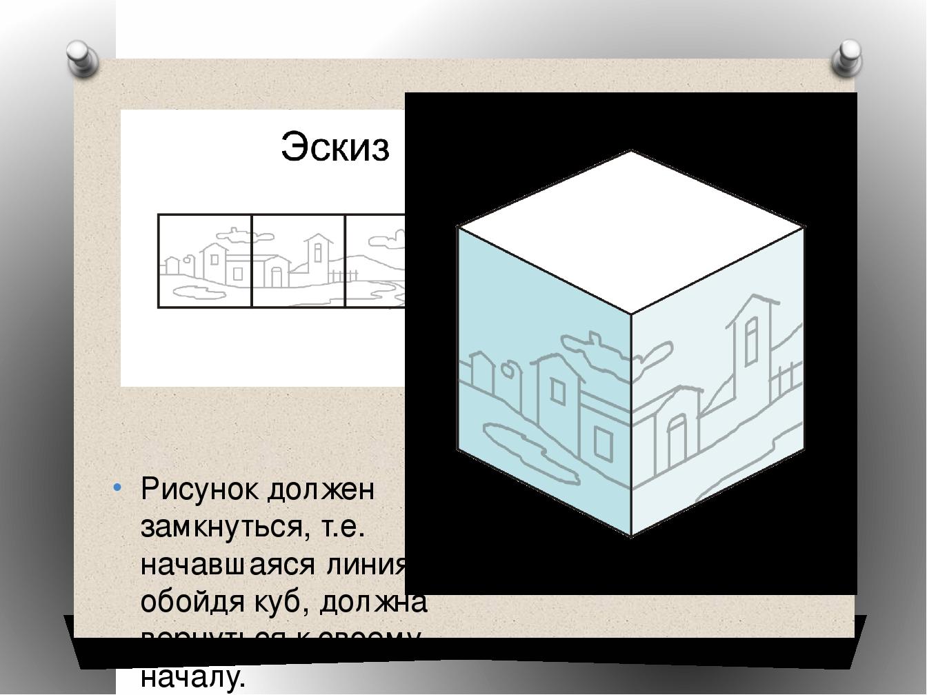Рисунок должен замкнуться, т.е. начавшаяся линия, обойдя куб, должна вернутьс...