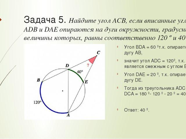 Вписанный угол решение задач начертательная геометрия решение задач гордон
