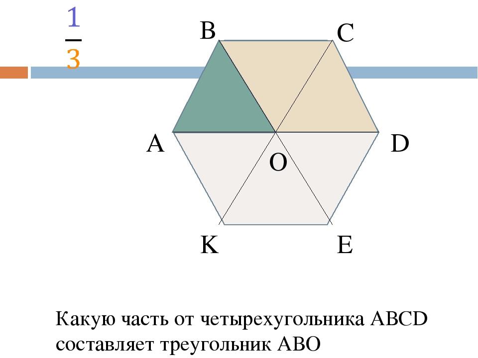 А В С D E K O Какую часть от четырехугольника АВСD составляет четырехугольни...