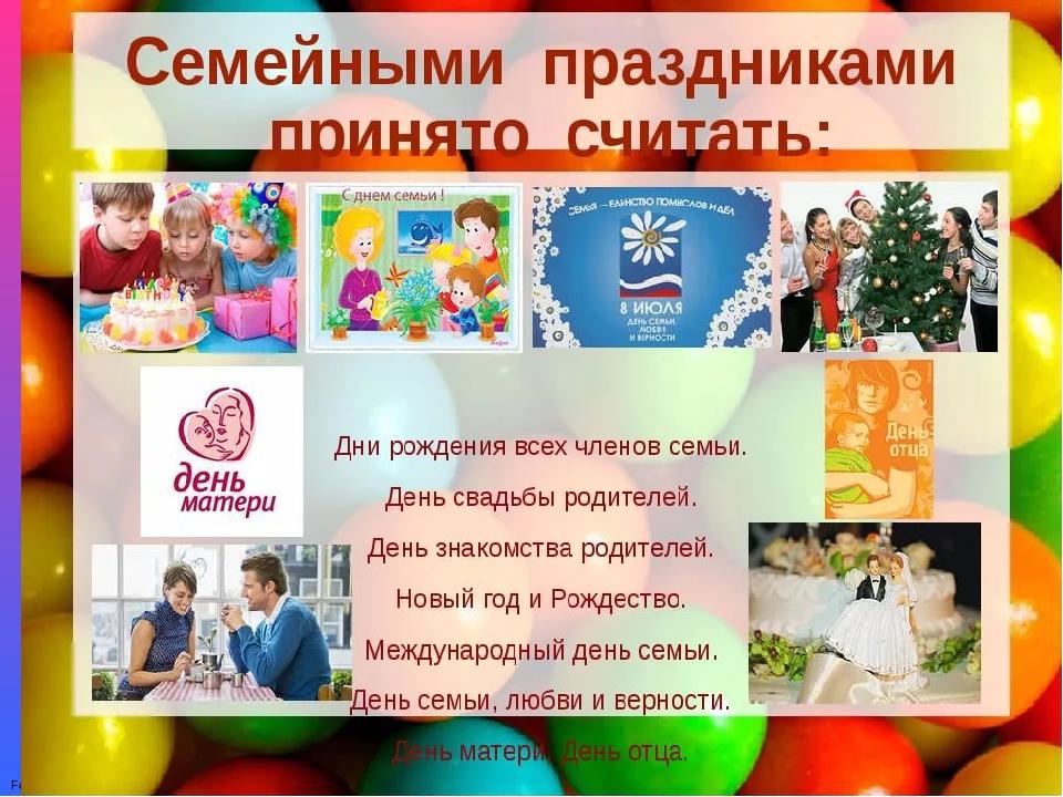 Семейные праздники картинки для презентации