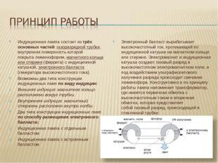 Индукционная лампа состоит из трёх основных частей: газоразрядной трубки, вну