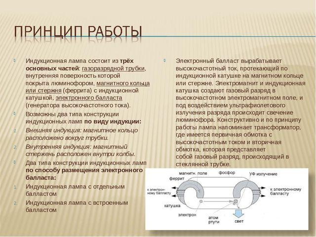 Индукционная лампа состоит из трёх основных частей: газоразрядной трубки, вну...